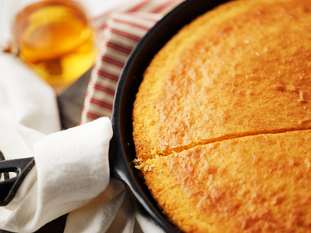 Gluten Free Corn bread in a cast iron skillet