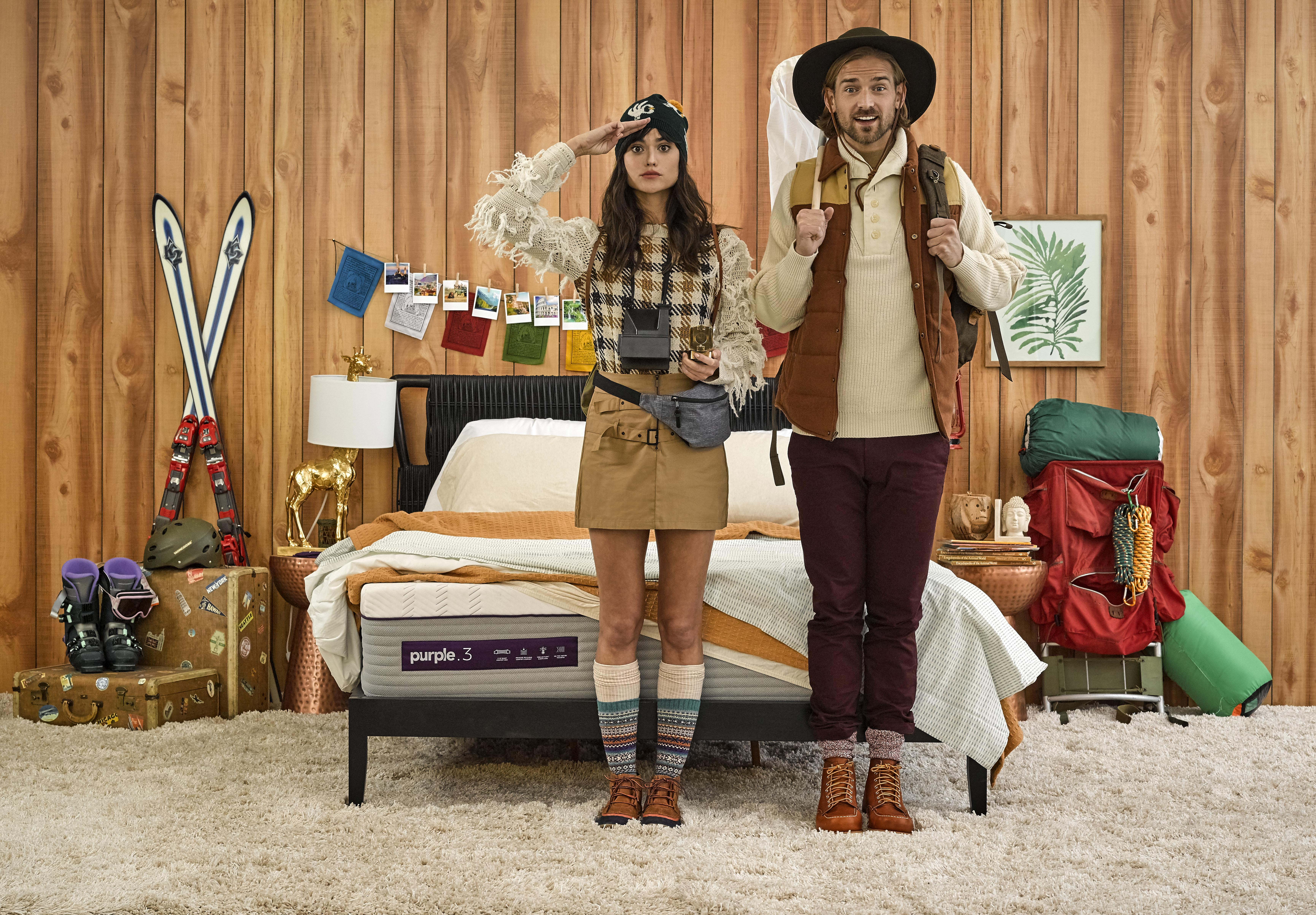 Conceptual photograph of couple going on an adventure With a Wes Anderson style